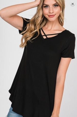 Ultra Essential Black Criss Cross Top
