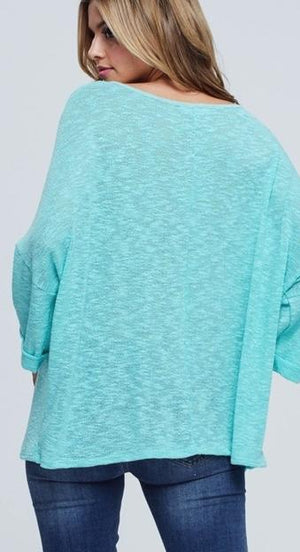 Mint Madness Open V-Neck Top