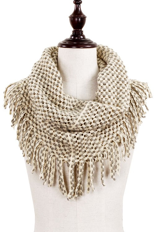 Two-Tone Scarf with Fringe (Many Colors)