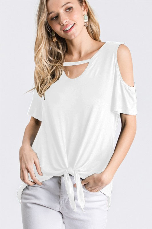 #A127 Angel Glow Cold Shoulder Top