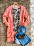 #A57 Lightweight Coral Ribbed Cardigan (FINAL SALE)
