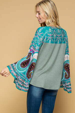 Pay Close Attention Bell Sleeve Top