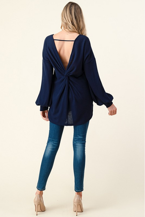 Navy Waffle Knit Open Back Top