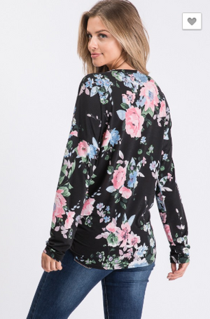 Glorious Floral Night Front Tie Top