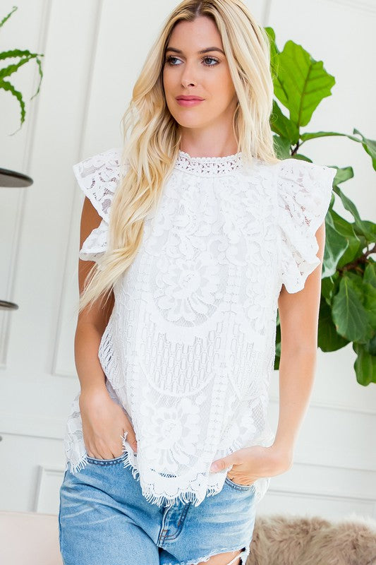 #B102 Pure Grace Lace Top - White