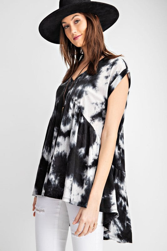 #B108 Exist Loudly Tie Dye Top - BLACK (FINAL SALE)