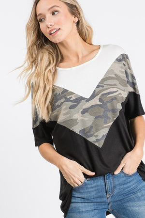 #B89 Camo Cutie Color block Top