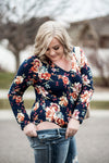 Flower Power Bodysuit In Navy