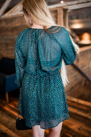 Catch A Falling Star Dress In Teal