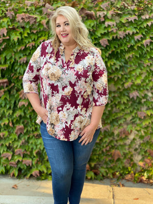 Floral Motif 3/4 Sleeve Top