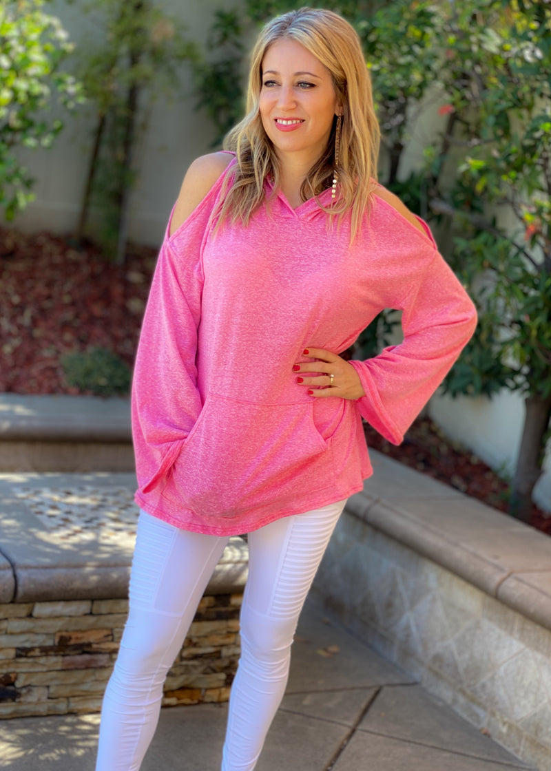 Just Between Us Cold Shoulder Hoodie