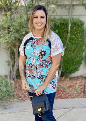 All Mixed Up Lace Tunic Top