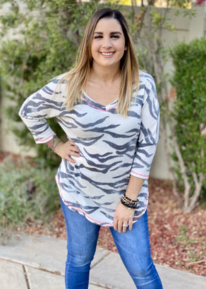 Zebra Diva 3/4 Sleeve Top