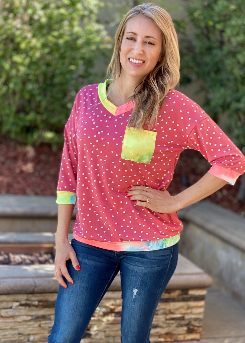 Pretty In Polka Dots 3/4 Sleeve Top