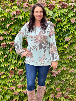 In Harmony Sage & Marsala Long Sleeve Pullover