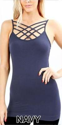 #563 High Cage Criss-Cross Cami (Multiple Colors)