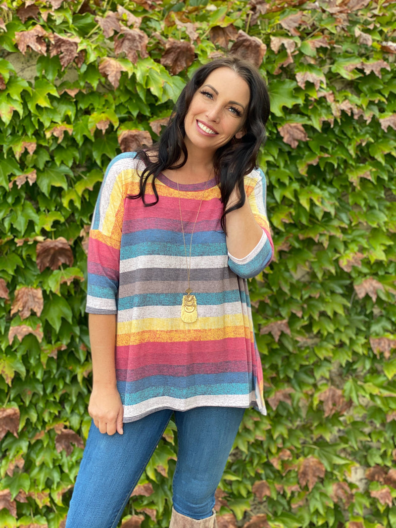 Retro Rainbow Boxy Tee