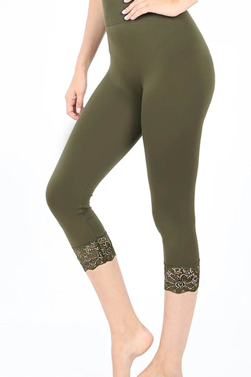 Lace Trim Seamless Leggings in Olive