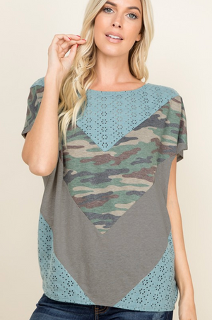 One of a Kind Eyelet Color Block Tee