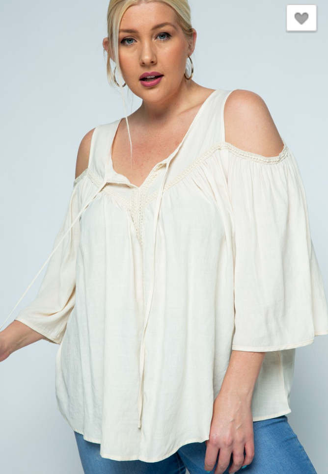 #C102 Boho dream girl cold shoulder top