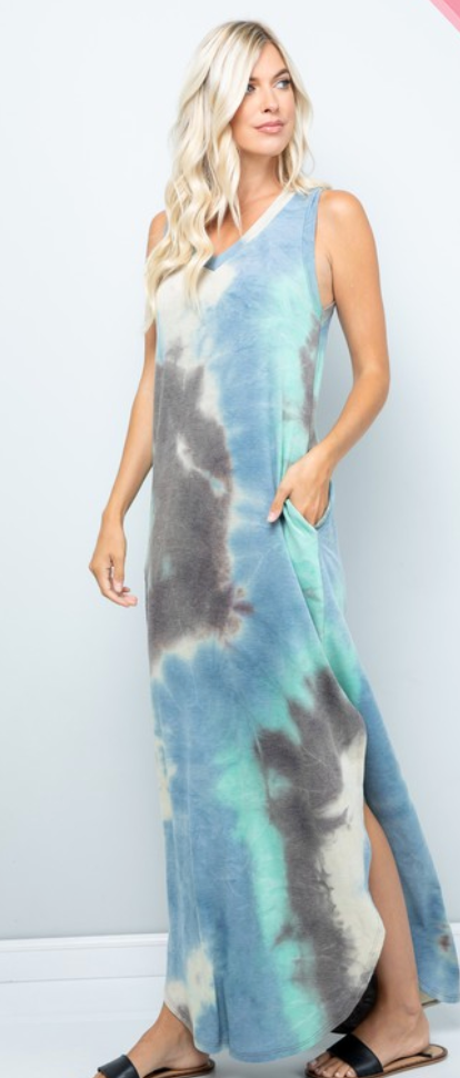 #C133 Ocean Waves Tie dye Maxi Dress