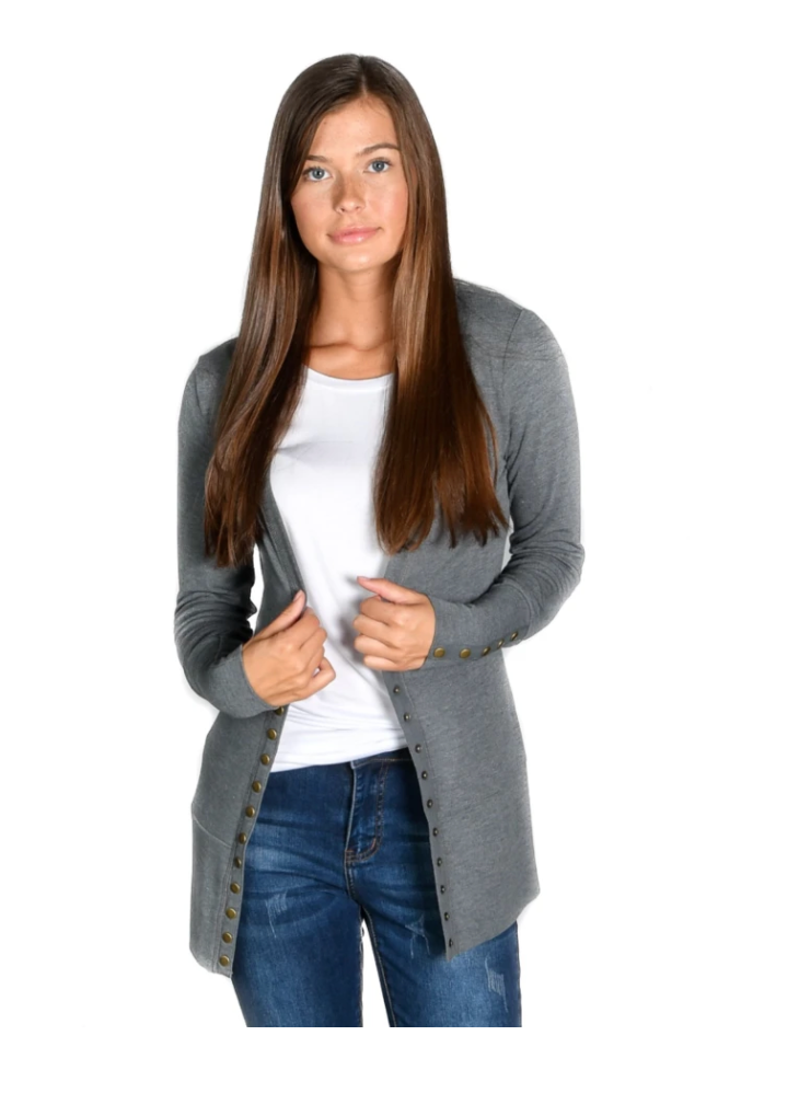 #C231 Fog Gray Snap Cardigan