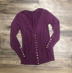 #C232 Grape Snap Cardigan