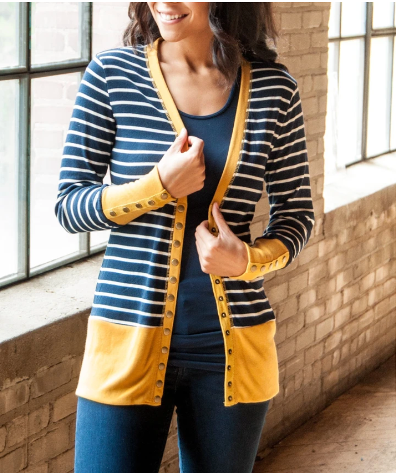 #C230 Mustard & Navy Stripe Snap Cardigan