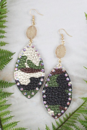 #C219 Jeweled Camo Earrings