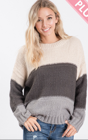 #C32 Steel Me Away Cozy Knit Sweater