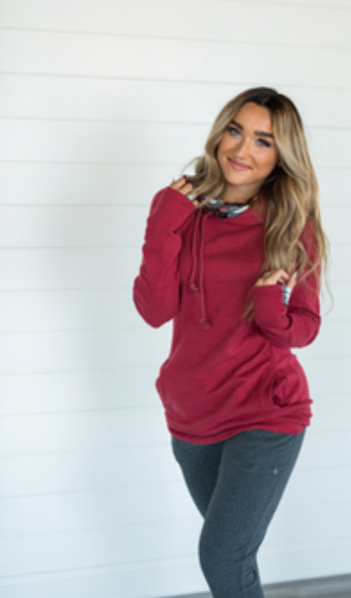 #C904 Cranberry Plaid Ampersand Doublehood Sweatshirt