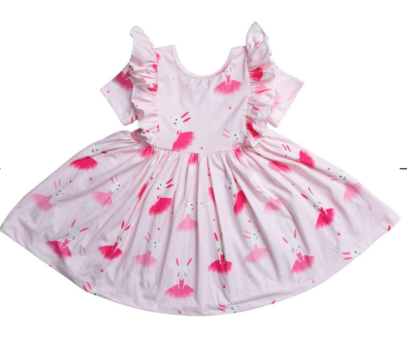 #H757 Ballet Bunny Ruffle Twirl Dress