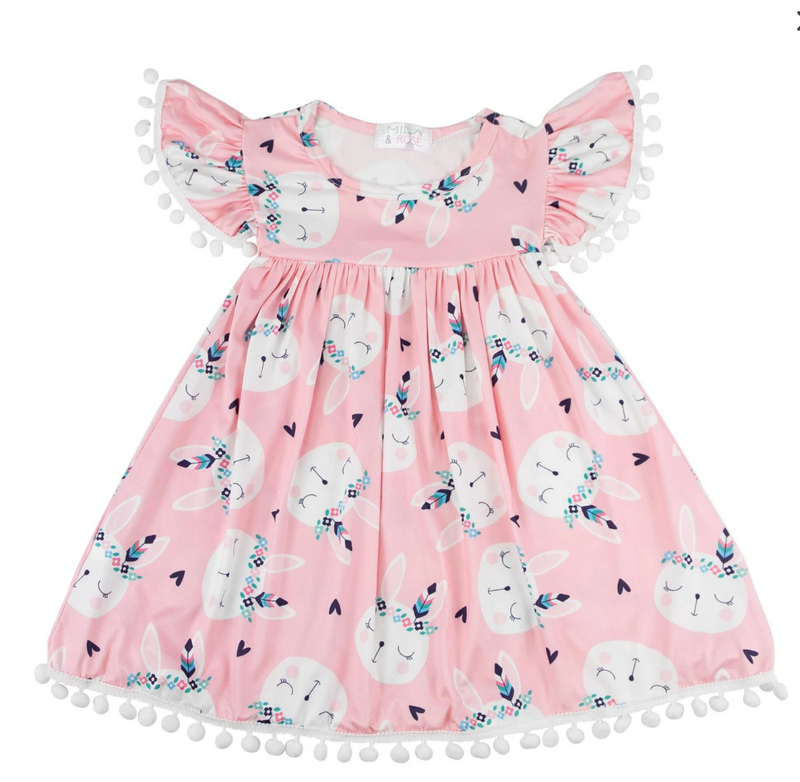 #H758 Boho Bunny Pom Pom Dress