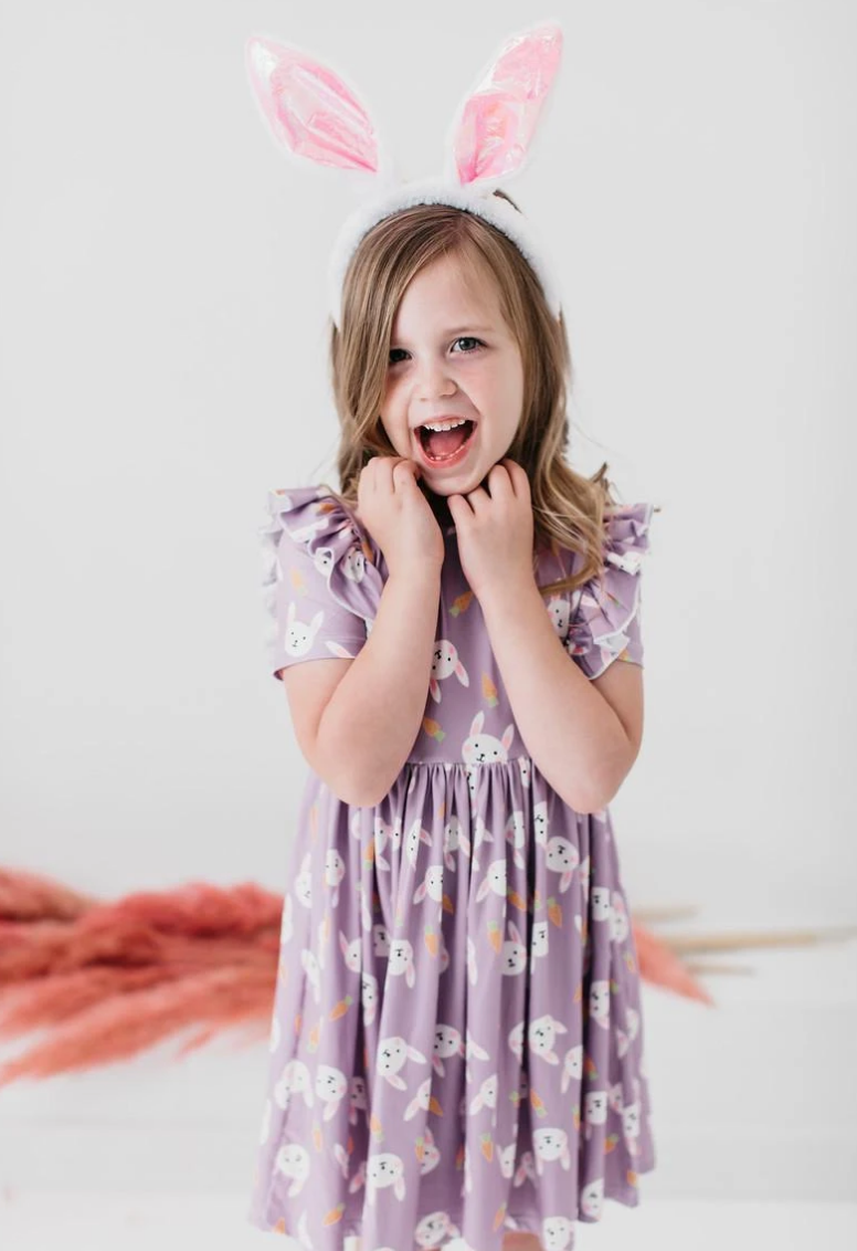 #H760 Hopping Around Bunny Ruffle Twirl Dress