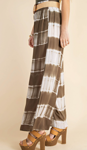 #H797  Time For A Vacation Tie Dye Palazzo Pants (Olive)