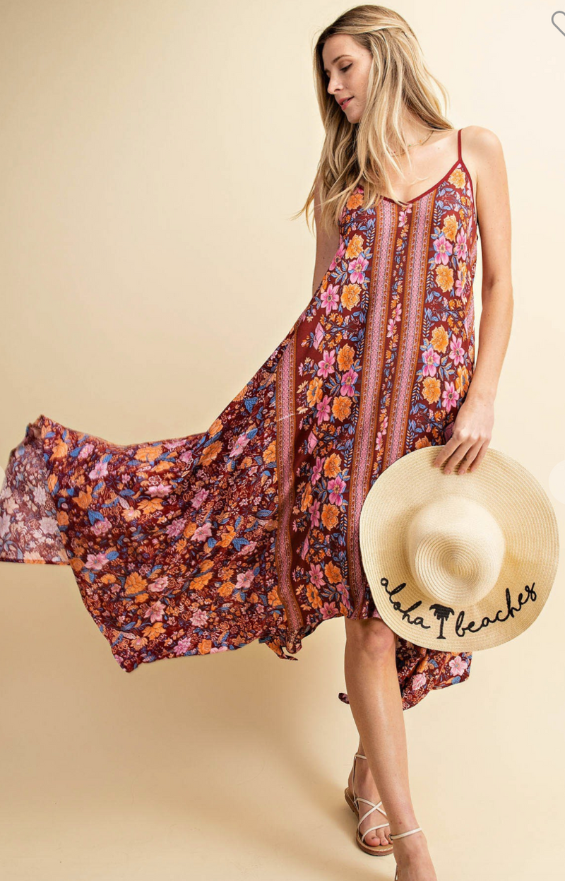 #H916 A Walk On The Beach Floral Dress