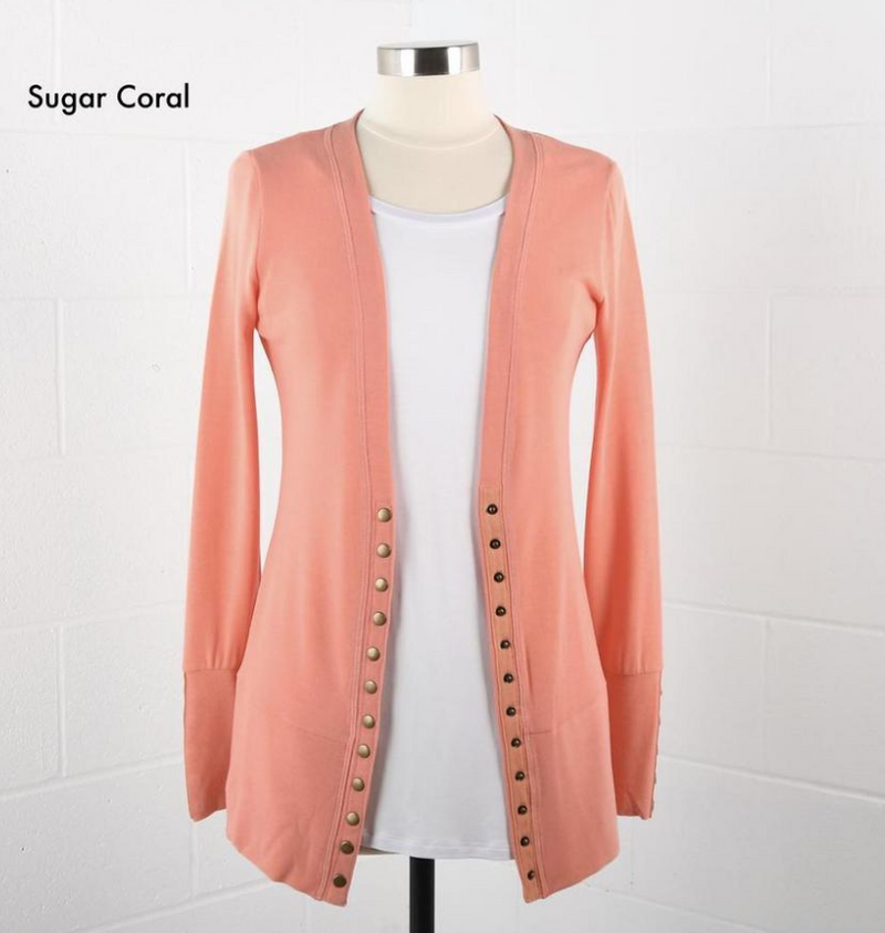 #451 Sugar Coral Snap Cardigan