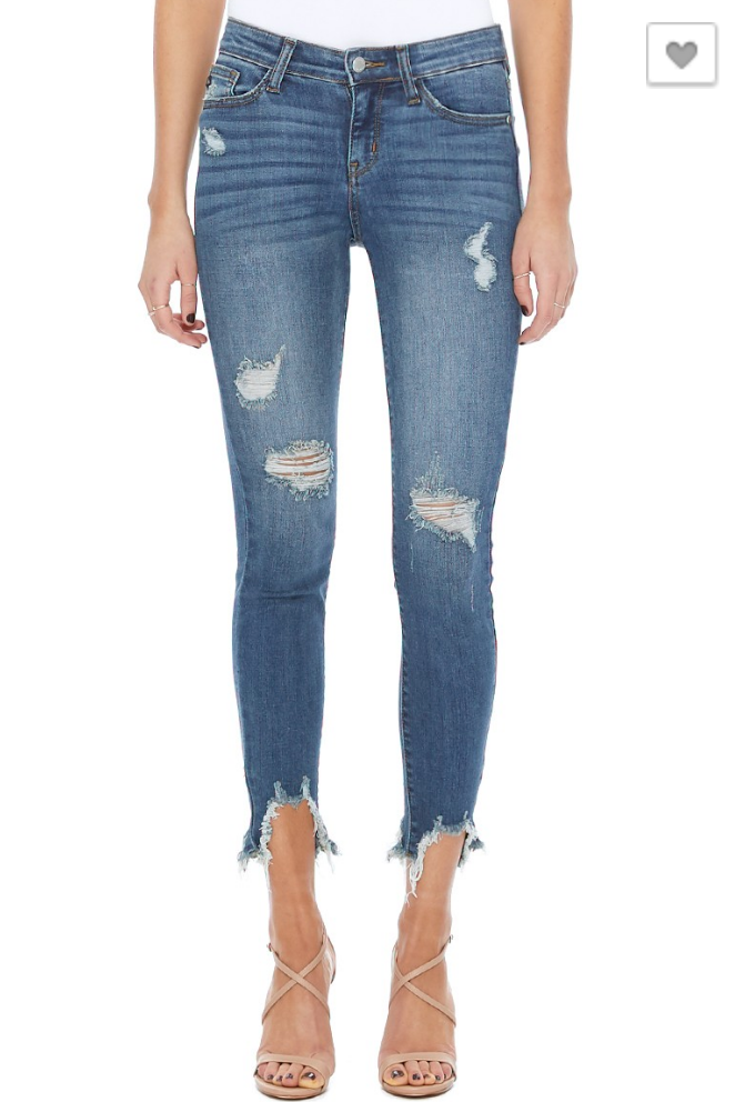 #343 Destroyed Hem Skinny Jeans
