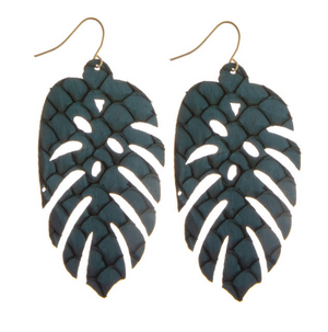 #788 Leaf Earrings (Blue)