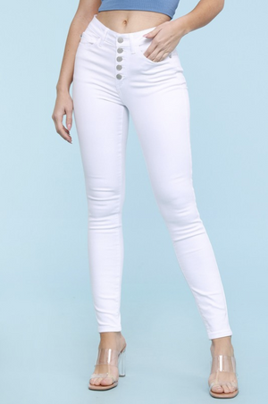 Spring In Your Step White Judy Blue Skinnies