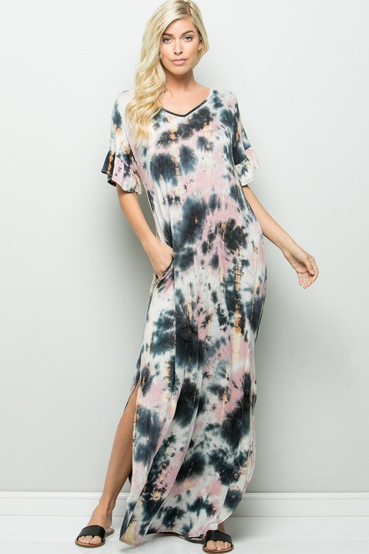 #A94 Ink Splash Maxi Dress