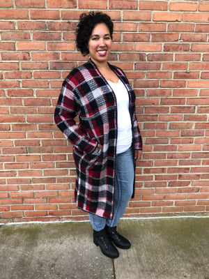 #923 Jenny's winter plaid cardigan
