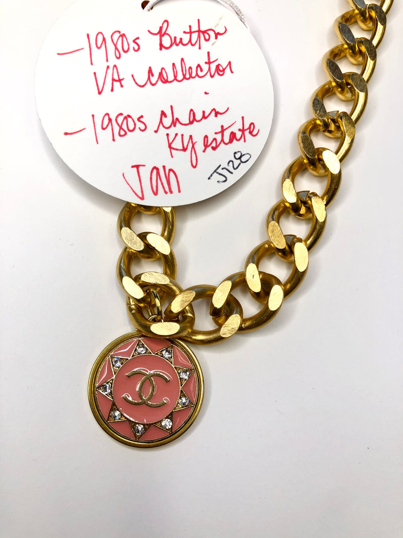 #J128 Jan CC Bezel Button Necklace