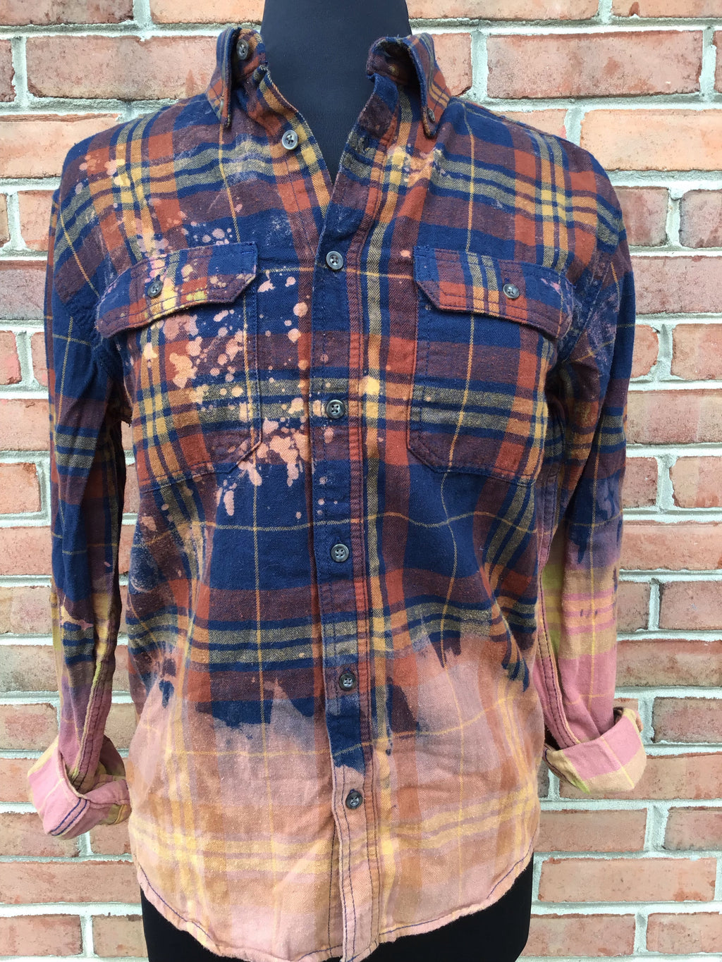 #426 One Of A Kind Flannel Tops (Blue and Brown Ombre)