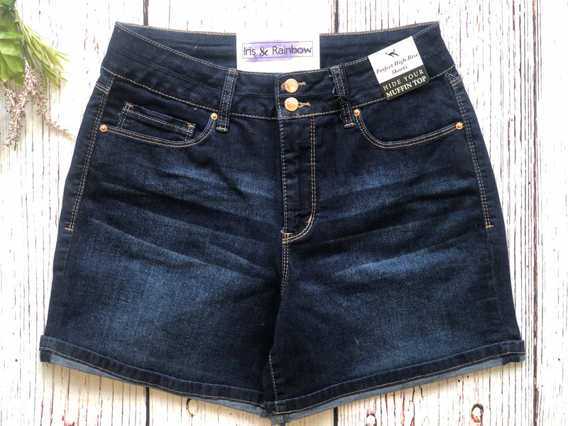 #B160 Boardwalk Dreams Cuffed Shorts (Dark Wash)