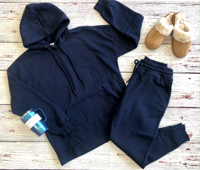 #H253 Pocket hoodie and jogger set (Navy)