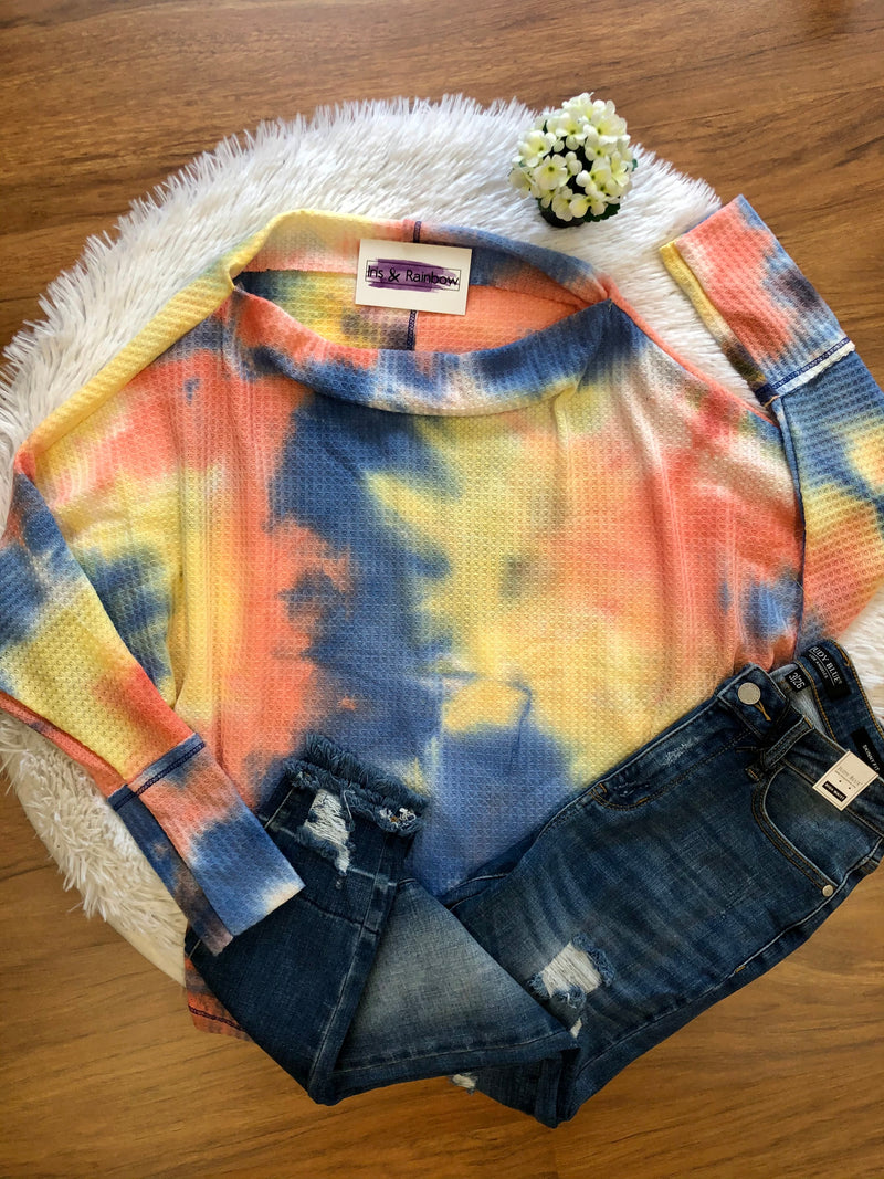 #F7 Tie Dye Sunset Dolman Top