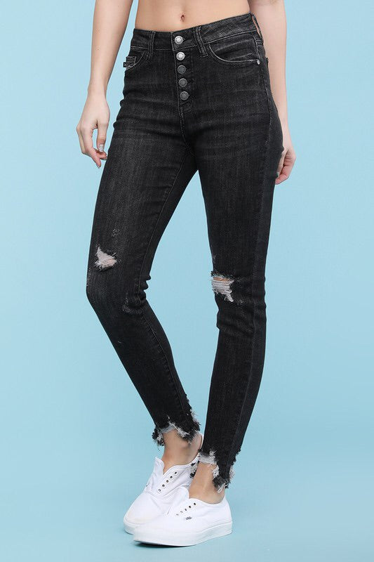 #288 Button me up grey distressed jeans