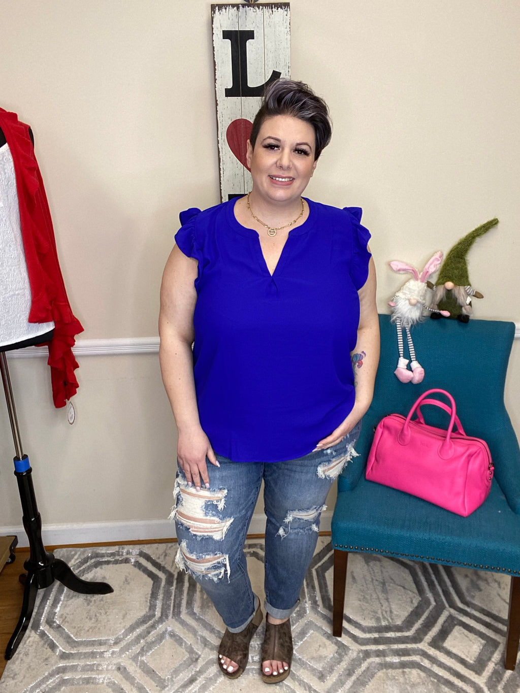 #H827 Take On The Day Ruffle Top (Bright Blue)