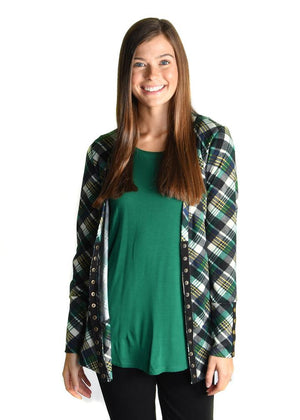 #447 Green and Navy plaid snap cardigan